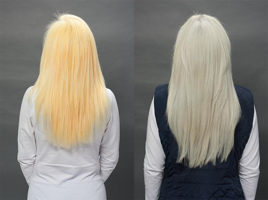 Resultado do cabelo platinado com p4ever.